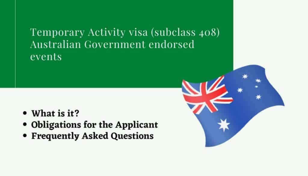 Temporary Activity visa (subclass 408) Australian Government endorsed events