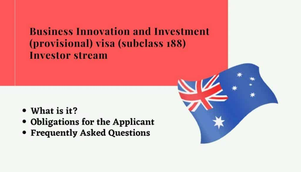 Business Innovation and Investment (provisional) visa (subclass 188) Investor stream